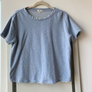 Dylan cropped distressed baby blue sweatshirt top